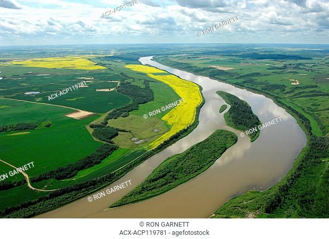 aerial, North Saskatchewan River, Tulliby Alberta