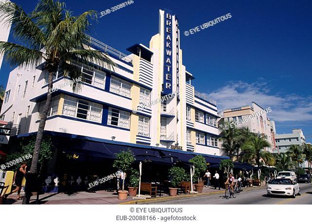 South Beach. Ocean Drive. Art Deco Break water Hotel exterior