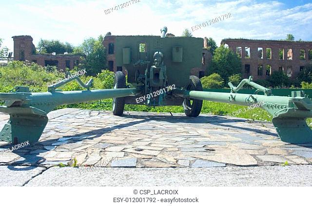 Old battle cannon at Shlisselburg's fortress Oreshek near St. Pe