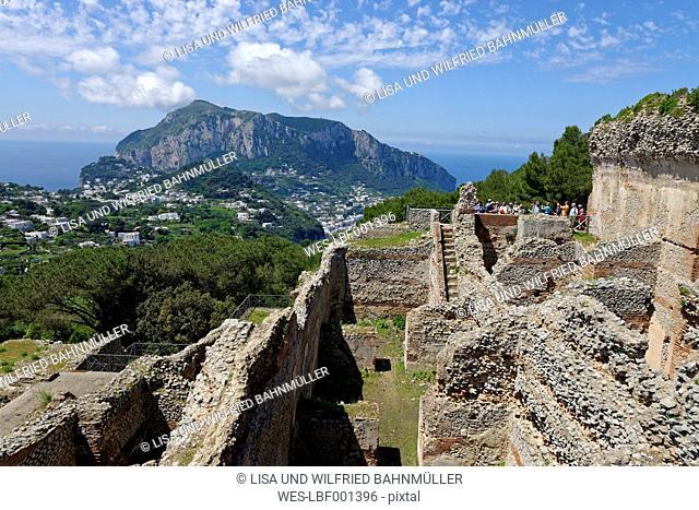 Italy, Campania, Gulf of Naples, Capri, Ruine of roman Villa Jovis