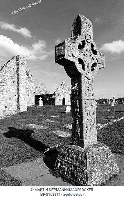 Copy of a high cross, Cross of the Scriptures, Clonmacnoise Monastery, County Offaly, Leinster, Ireland, Europe
