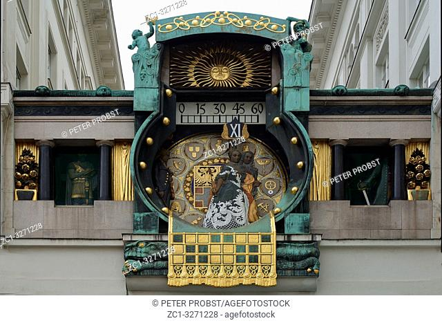 Art Nouveau game clock Ankeruhr from 1914 on the square Hoher Markt in the Austrian capital Vienna - Austria. .
