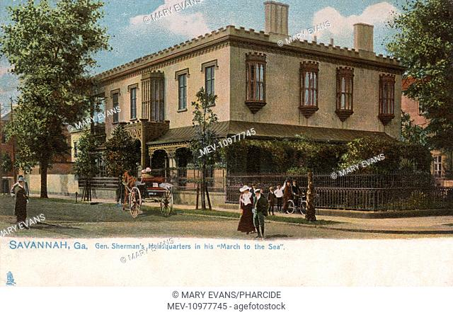 Green-Meldrim House, West Macon Street, General Sherman's headquarters in his March to the Sea during the American Civil War, in Savannah, Georgia, USA