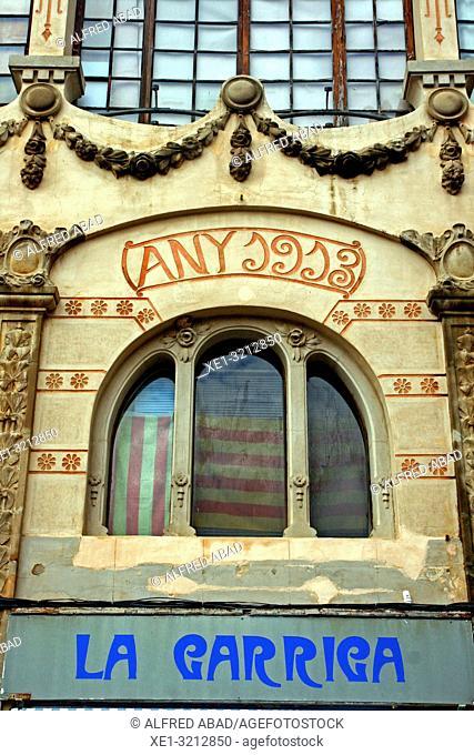 window in modernist building of 1913, La Garriga, Catalonia, Spain