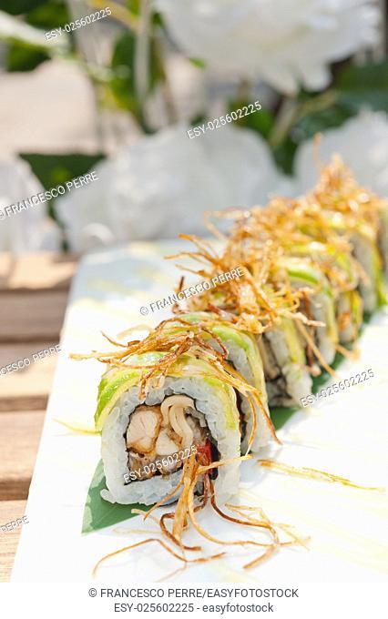 fresh made Japanese sushi rolls called Maki Sushi