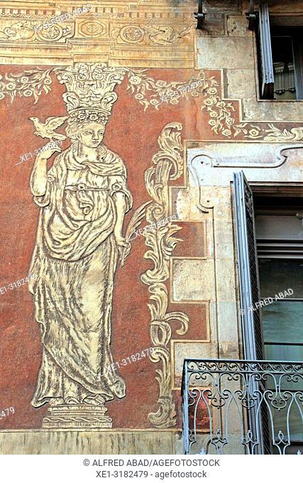 sgrafiato paintings on the wall, Casa del Gremi dels Velers, 1758, architect Joan Garrido, Barcelona, Catalonia, Spain