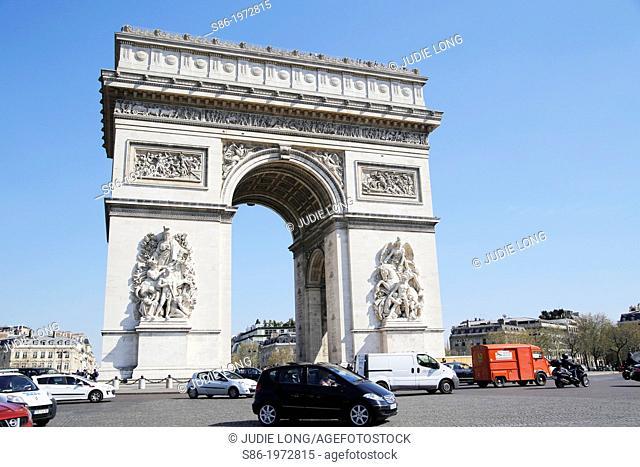 Traffic Around the Arch de Triomphe, Place d'Etoile, Paris, France