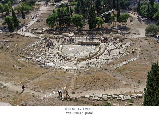 Theatre of Dionysus viewed from Acropolis Hill, Athens, Greece, Europe