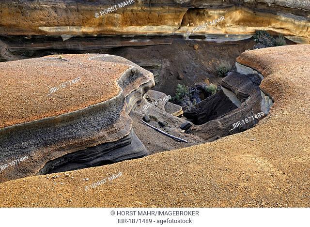 Erosion of a river bed, volcanic region of Mount Ruapehu, Tongariro National Park, UNESCO World Heritage Site, near Waiouru, North Island, New Zealand