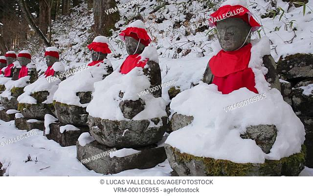 Narabijizo, Bakejizo, jizo stone statues,buddhist guardian deities in Kanmangafuchi Abyss, Nikko, Japan