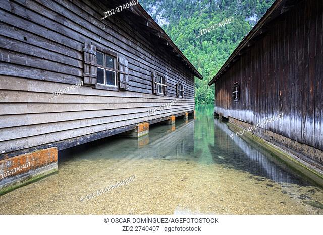 Wooden boathouses at Konigssee lake. Upper Bavaria. Germany