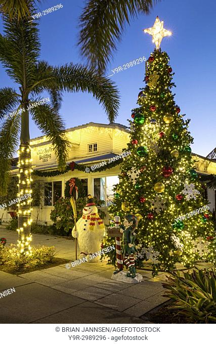 Christmas tree and decorations at the Olde Naples Building - original Town Hall (b. 1921), Naples, Florida, USA