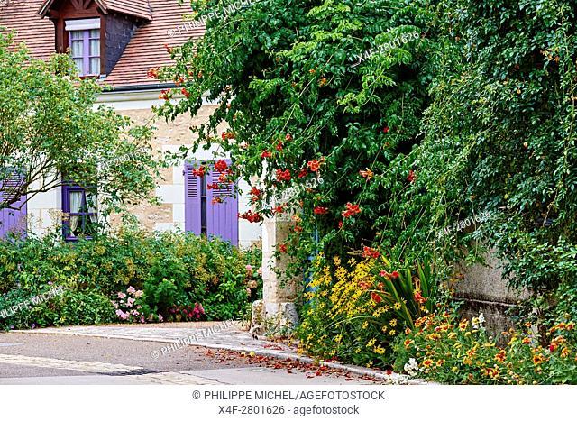 France, Indre-et-Loire (37), Chedigny, flowered village, garden
