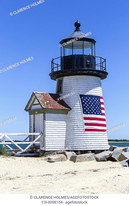 Brant Point Lighthouse protects mariners entering Nantucket Harbor on Nantucket Island