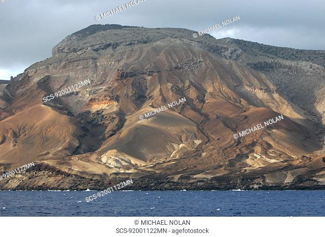 Volcanic tuft along the shoreline of Ascension Island in the south Atlantic Ocean
