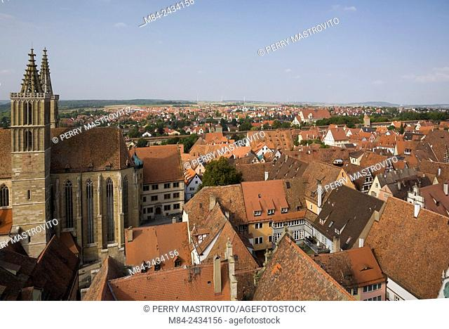 High-angle view of the medeival town of Rothenburg in late summer, Germany