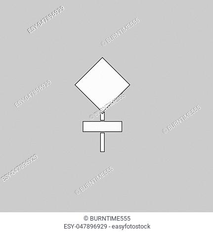 warning sign Simple line vector button. Thin line illustration icon. White outline symbol on grey background