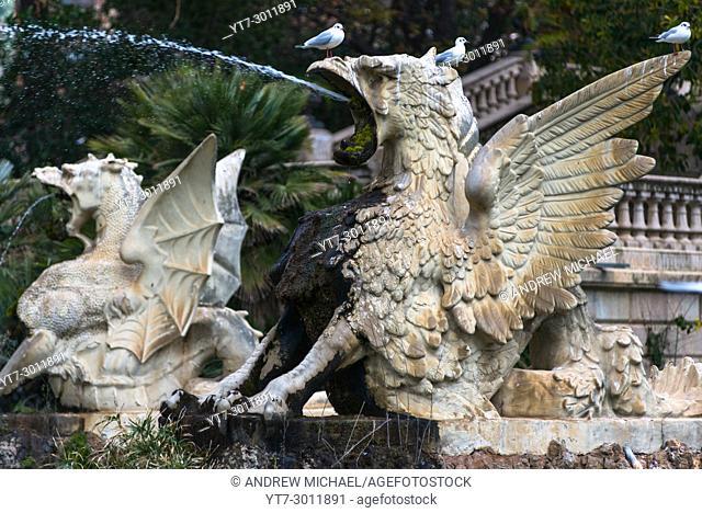 Part of Font de la Cascada, cascading fountain, Parc de la Ciutadella, Barcelona, â. ‹â. ‹Catalonia, Spain