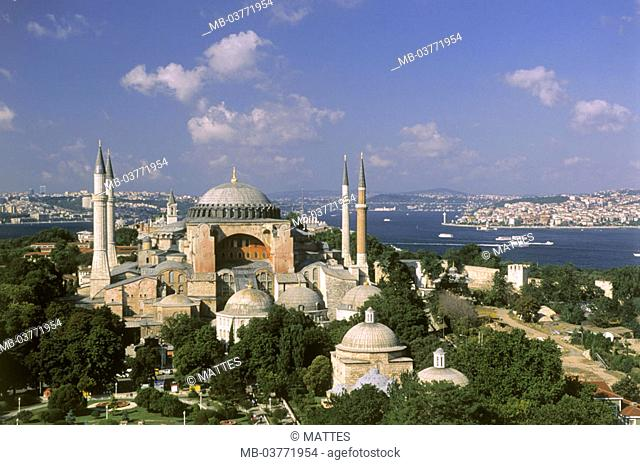 Turkey, Istanbul, view at the city,  Hagia Sophia mosque  Middle east, fore Orient, Near east, Ottoman empire, city, district, cityscape, sight