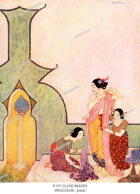 This illustration is taken from the book Sinbad the Sailor that was published around 1914. It shows Lady Bedr-el-Budr at her bath