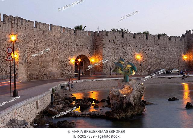 City wall, Rhodes, Greece, Europe, PublicGround