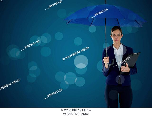 Business woman with umbrella and clipboard against blue background and bokeh