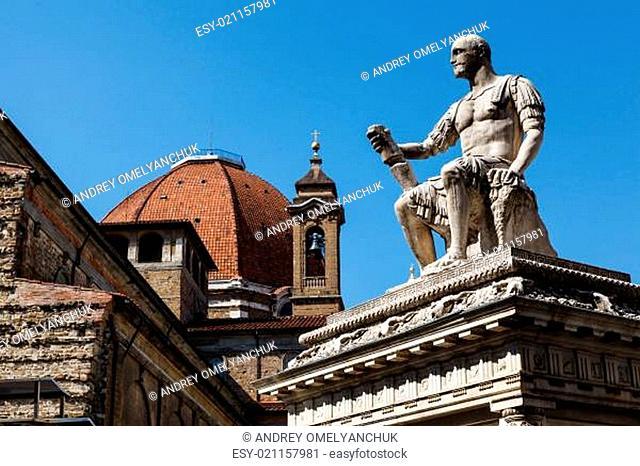 Statue of Giovanni delle Bande Nere at Piazza San Lorenzo by Bac