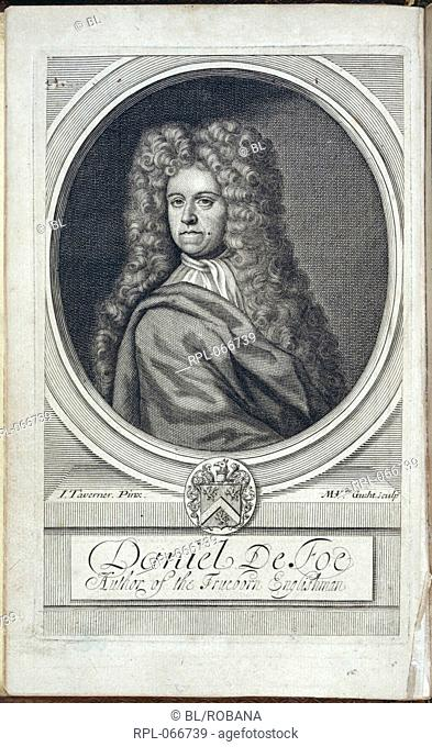 Daniel Defoe 1660-1731. English writer and adventurer. Portrait. Image taken from A True Collection of the Writings of the Author of the True Born English-man i