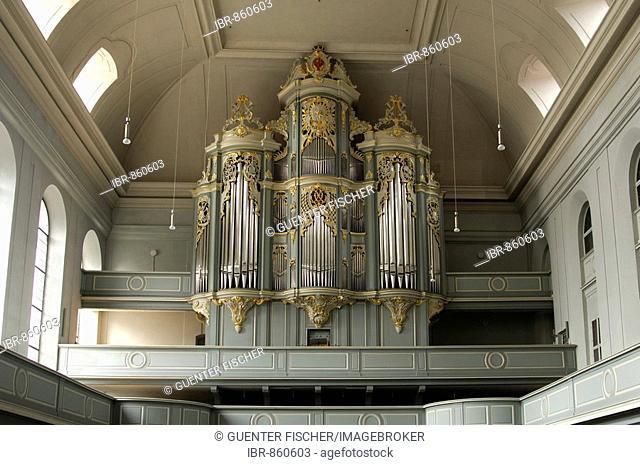 Baroque organ in the former Abbey Church of St. Gumbertus, Ansbach, Franconia, Bavaria, Germany, Europe