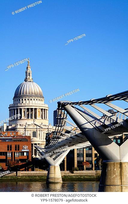 The Millenium Bridge and St Paul's Cathedral, London, UK