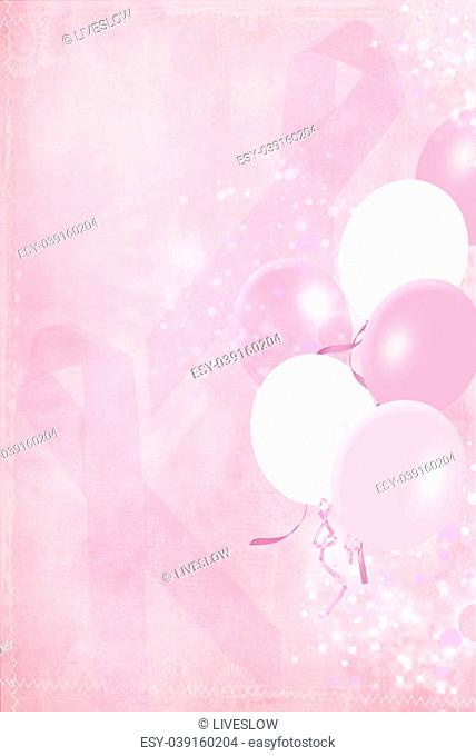 Balloon bouquet with breast cancer awareness pink ribbons