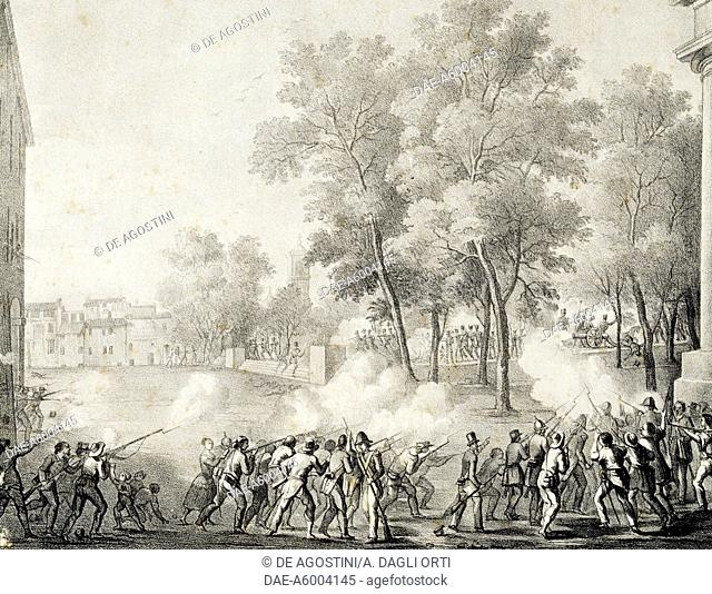 Battle of Montagnola in Bologna, August 8, 1848, engraving based on a drawing by Achille Frulli. Italy, 19th century.  Bologna