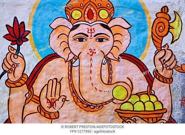 Wall painting of Ganesh inside Jaisalmer Fort, Jaisalmer, Rajasthan, India