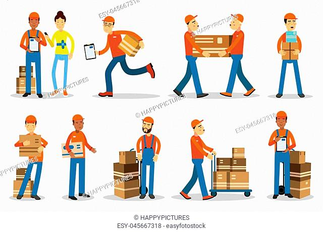 Delivery men characters. People shipping products vector Illustrations isolated on white background