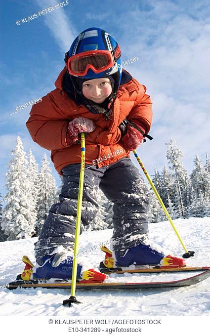 Six year old boy on skis. Winkelmoosalm, Upper Bavaria, Germany
