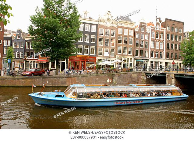 Canal tour boats. Amsterdam. Holland