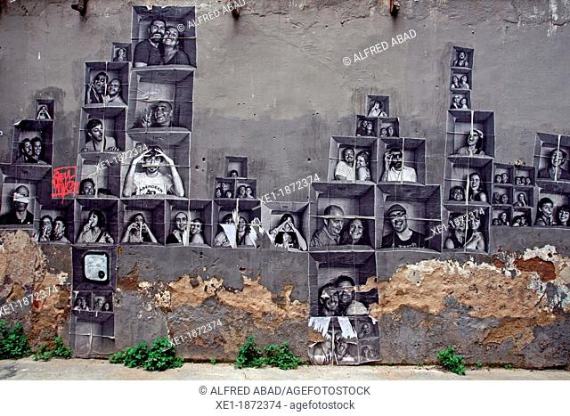 photographs, mural, El Born, Barcelona, Catalonia, Spain
