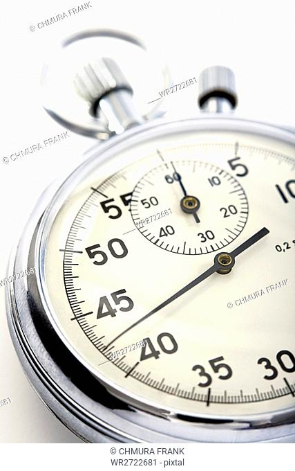 closeup o a stopwatch isolated on white background