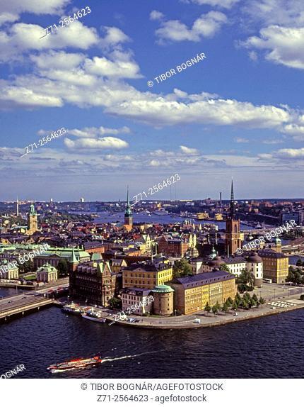 Sweden, Stockholm, Gamla Stan, Riddarholmen, skyline, aerial view,