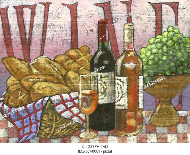 wine, bread, and grapes