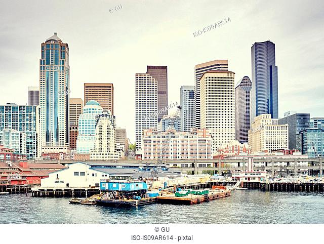 View of waterfront and skyline with former Washington Mutual Tower building, Seattle, Washington State, USA