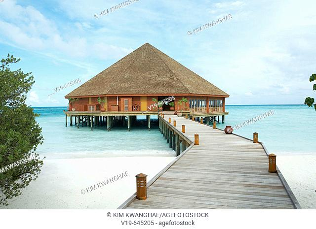 Boardwalk guiding to resort in Maldives Island, Indian Ocean