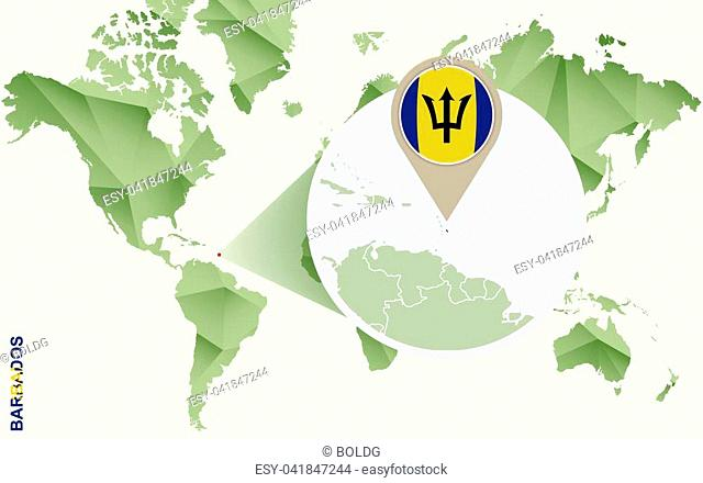 Infographic for Barbados, detailed map of Barbados with flag. Vector Info graphic green map