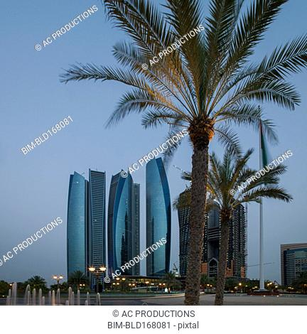 Palm trees near Abu Dhabi city skyline, Abu Dhabi Emirate, United Arab Emirates