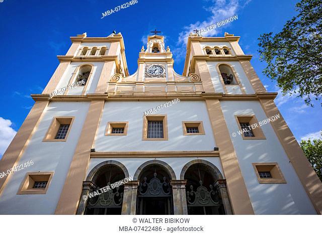 Portugal, Azores, Terceira Island, Angra do Heroismo, Santissimo Salvador da Se cathedral church, exterior