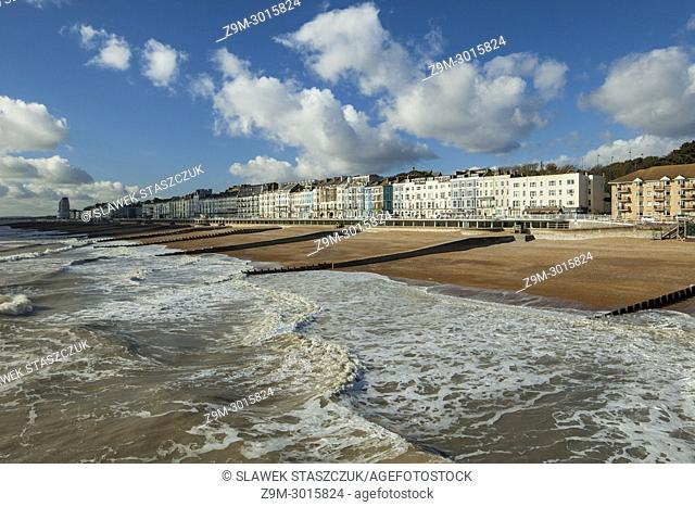 The skyline of Hastings, East Sussex, England
