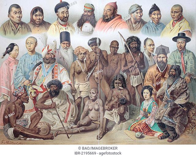 Ethnic groups of Asia: 1 Yukaghir, 2 Ostjakin, 3 Mongol, 4 Rajput, 5 Kyrgyz, 6 Tungus, 7 Yakutian, 8 Tibetan, 9 Chinese woman, 10 Chinese man, 11 Sinhalese