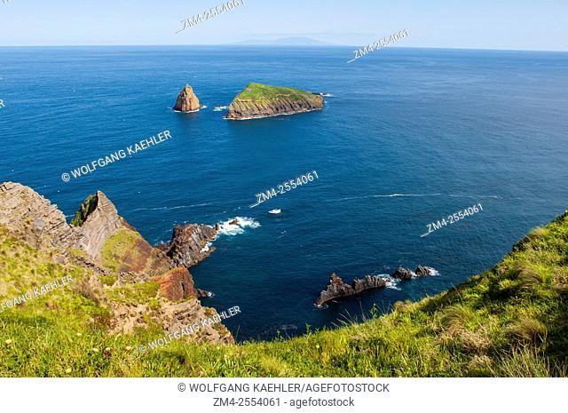 View of bird islands from Ponta da Restinga along the coast of Graciosa Island in the Azores, Portugal