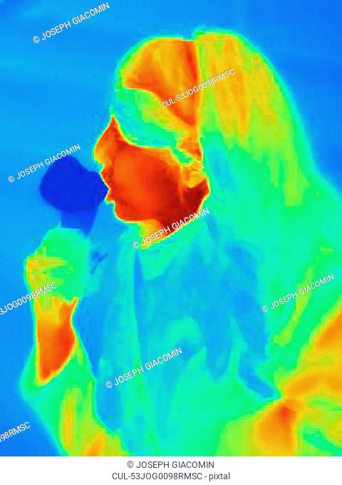 Thermal image of woman eating ice cream
