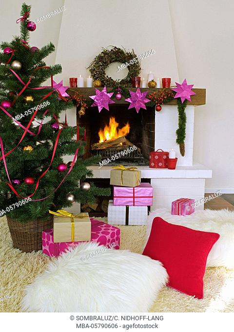 Christmas morning, presents on the chimney